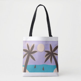 Tote Bag with Palm and Ocean Design