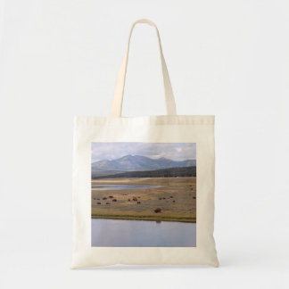 Tote bag with photo of bison, mountains & lake