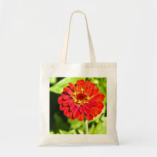 Tote Bag with Red Zinnia