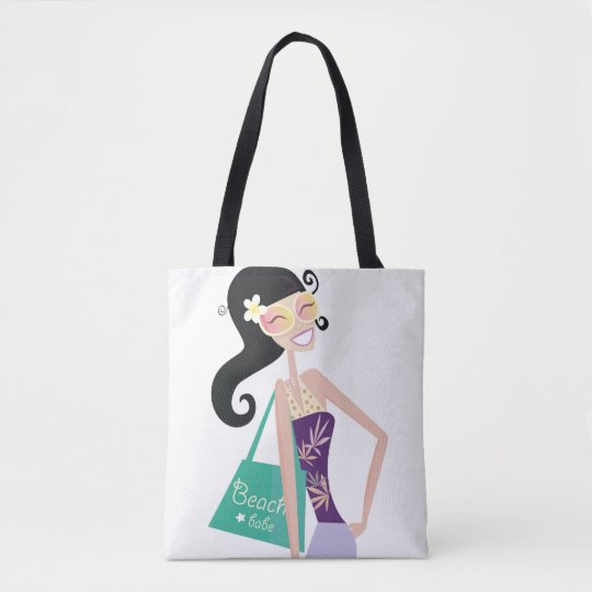 "Tote bag with vintage ""hand-drawn Girl"""