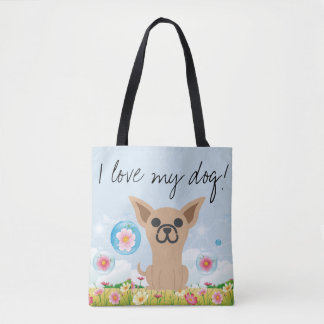 Tote bag with with chihuahua in beautiful garden