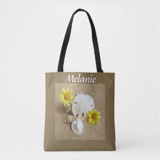 Tote Bag with Yellow Daisies, Seashells and Sand
