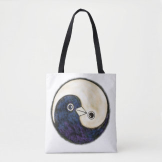 Tote bag with Yin Yang doves design