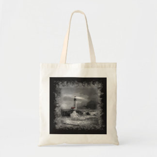 "Tote bag ""Yaquina lighthouse in black and white"""