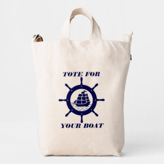 Tote For Your Boat Blue Nautical Boat Wheel