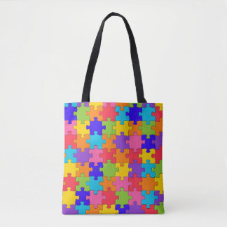 Tote Grocery Shopping Bag  Colorful Jigsaw Puzzle