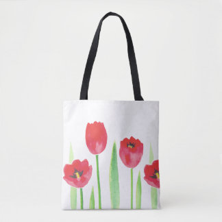 Tote stock market tulipas | Watercolor tulips bag
