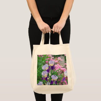 Tote with Blue Irises & Pink Azaleas