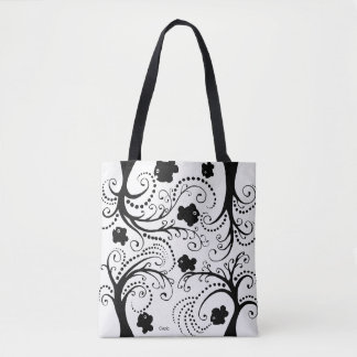 Tote with little whimsical black fishes