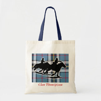 Tote with tartan and border reiver image.