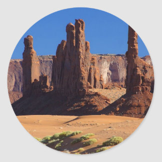 Totem Pole At Monument Valley Classic Round Sticker