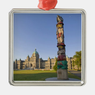 Totem pole at the Parliament building in Silver-Colored Square Ornament