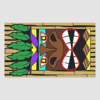 Totem With Bamboo Luau Party Sticker