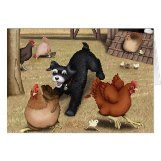 Toto Chasing Chickens in the Yard Card