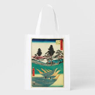 Totsuka, Japan: Vintage Woodblock Print Reusable Grocery Bag