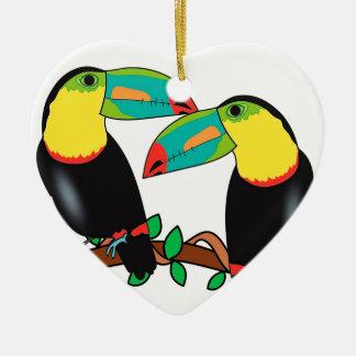 Toucan bird love art ceramic ornament