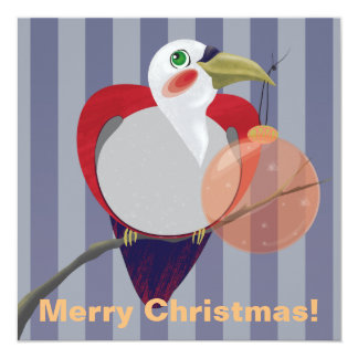 """Toucan Bird with Christmas Tree Ball Greeting Card 5.25"""" Square Invitation Card"""