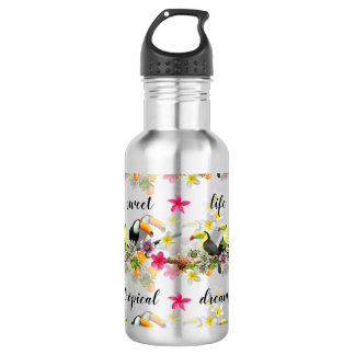 Toucan Birds, Passion Flowers, Plumeria Tropical 532 Ml Water Bottle