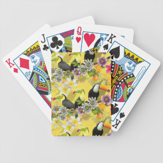 Toucan Birds, Passion Flowers, Plumeria Tropical Bicycle Playing Cards