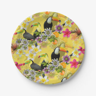 Toucan Birds, Passion Flowers, Plumeria Tropical Paper Plate