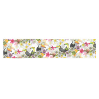 Toucan Birds, Passion Flowers, Plumeria Tropical Short Table Runner