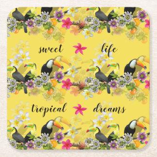Toucan Birds, Passion Flowers, Plumeria Tropical Square Paper Coaster