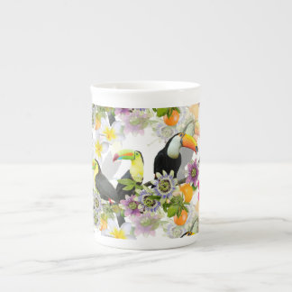Toucan Birds, Passion Flowers, Plumeria Tropical Tea Cup
