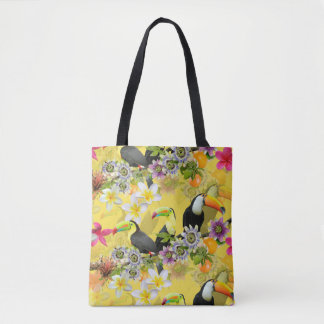Toucan Birds, Passion Flowers, Plumeria Tropical Tote Bag