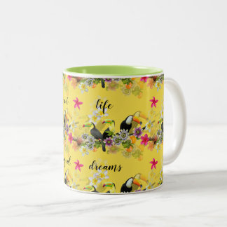 Toucan Birds, Passion Flowers, Plumeria Tropical Two-Tone Coffee Mug