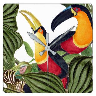 Toucan Birds Wildlife Animals Leaves Wall Clock