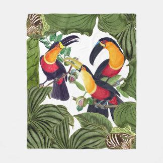 Toucan Birds Wildlife Jungle Leaves Fleece Blanket