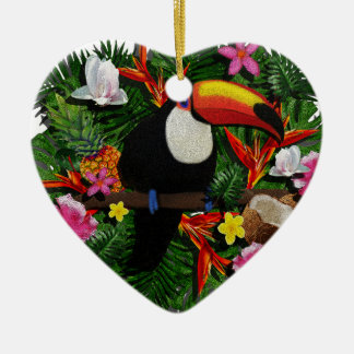 Toucan Ceramic Heart Ornament