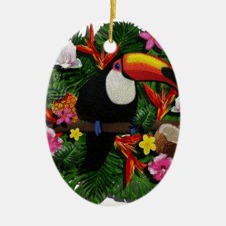 Toucan Ceramic Oval Ornament