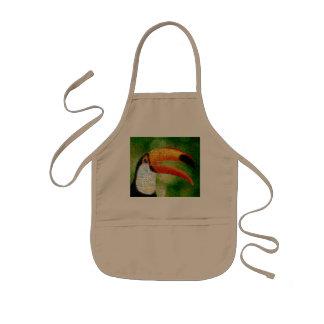 Toucan collage-toucan  art - collage art kids apron
