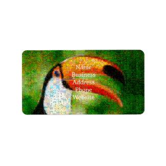 Toucan collage-toucan  art - collage art label