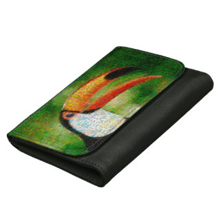 Toucan collage-toucan  art - collage art leather wallet for women