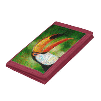Toucan collage-toucan  art - collage art tri-fold wallet