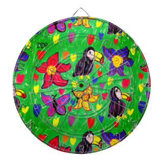 Toucan flower butterfly dartboard