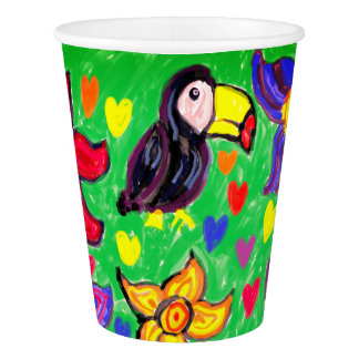 Toucan flower butterfly paper cup