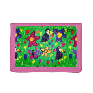 Toucan flower butterfly tri-fold wallet