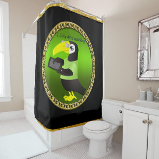 Toucan parrots with computer and gold foil design