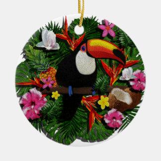Toucan Round Ceramic Ornament