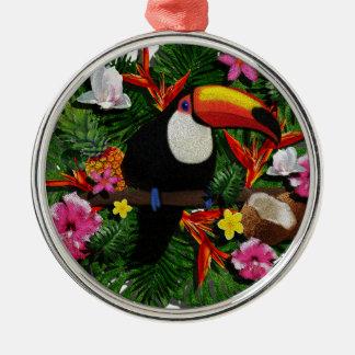 Toucan Silver-Colored Round Ornament