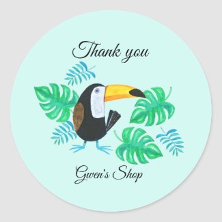 Toucan Small Business packaging /party favor  Classic Round Sticker