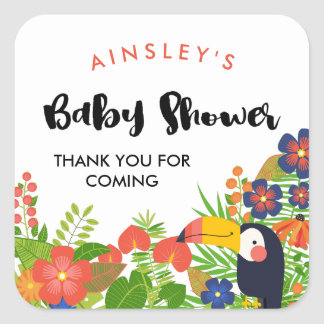 Toucan Tropical Baby Shower Thank You Square Sticker