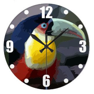 Toucan, tropical bird large clock
