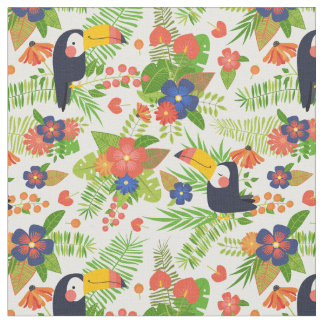 Toucan & Tropical Flowers Fabric