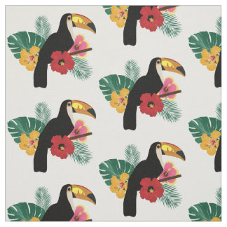 Toucan Tropical Flowers Pattern Fabric