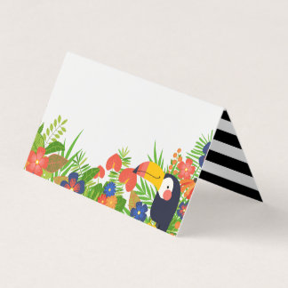 Toucan & Tropical Flowers Place Card