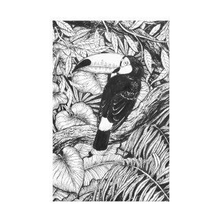 Toucan tropical garden canvas print